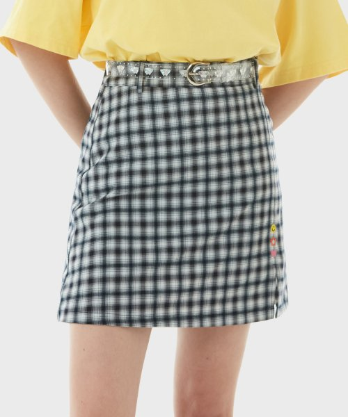 로라로라(ROLAROLA) (SK-21145) CHECK CLEAR BELT SKIRT NAVY