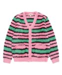 칸코() KANCO STRIPE CARDIGAN pink/green