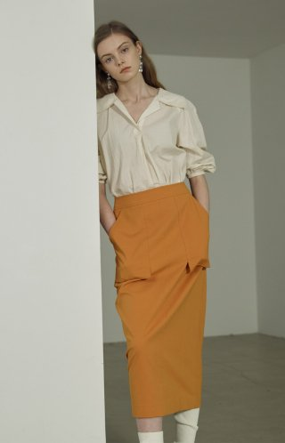 라인 스튜디오 원(LINE STUDIO ONE) pocket cotton long skirt JWSKLC0100