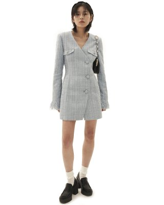 오드원아웃(ODDONEOUT) Tweed Jacket one-piece_SKY BLUE