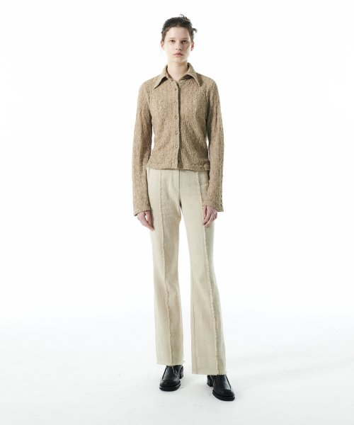 커렌트(CURRENT) TWEED DAMAGE PANTS KS [IVORY]