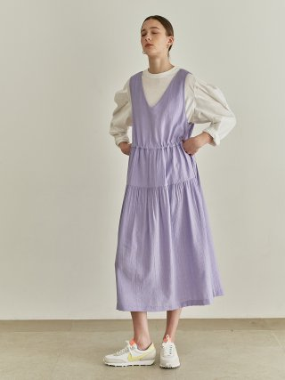 션메익스클로스(SEANMAKESCLOTH) SHIRRING LAYERD DRESS VIOLET