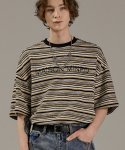 메종미네드(MAISON MINED) MULTICOLOR STRIPE HALF T YELLOW