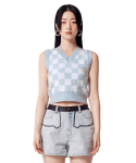 오아이오아이(OiOi) CHECK PATTERN KNIT VEST [SKY BLUE]