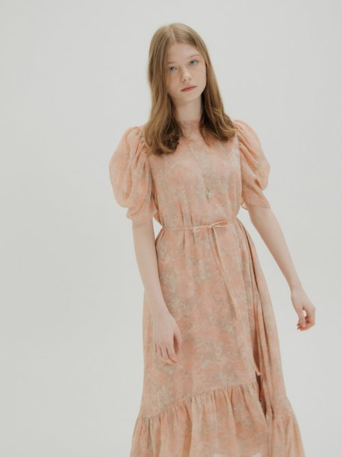 오앨(OH L) FLORAL CHIFFON SHIRRING DRESS_PINK