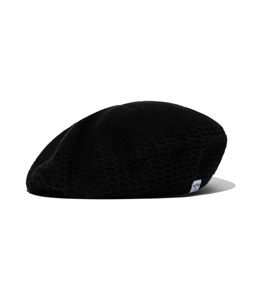 5252 바이 오아이오아이(5252BYOIOI) BASIC CROCHET BERET [BLACK]