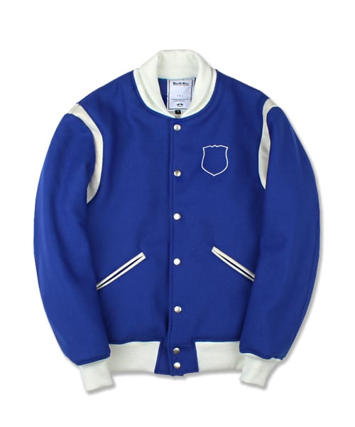 마치위드(MARCHWITH) CREST WOOL VARSITY JACKET BLUE