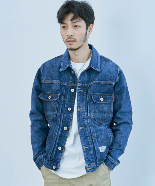 더스토리(THESTORI) OIL WASHED DENIM JACKET (BLUE)
