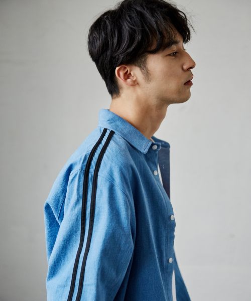 매드마르스(MADMARS) 2 LINE DENIM SHIRTS_BLUE