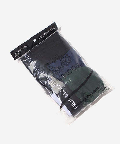 프룻오브더룸(FRUIT OF THE LOOM) FRUIT DRAWS 3PACK (BLACK/NAVY/GREEN)