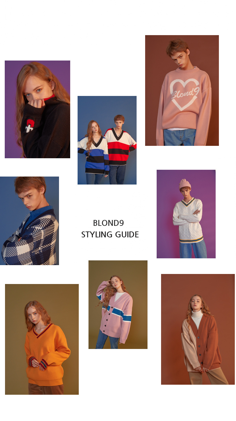 블론드나인(BLOND9) Check Knit Cardigan