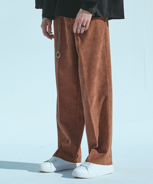 에드(ADD) CORDUROY WIDE PANTS BROWN