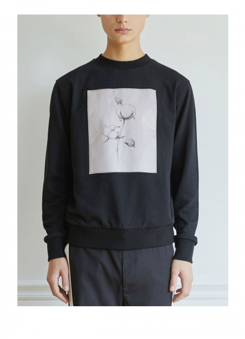 운무(WOONMU) PRINTING COTTON SWEAT SHIRTS_BLACK