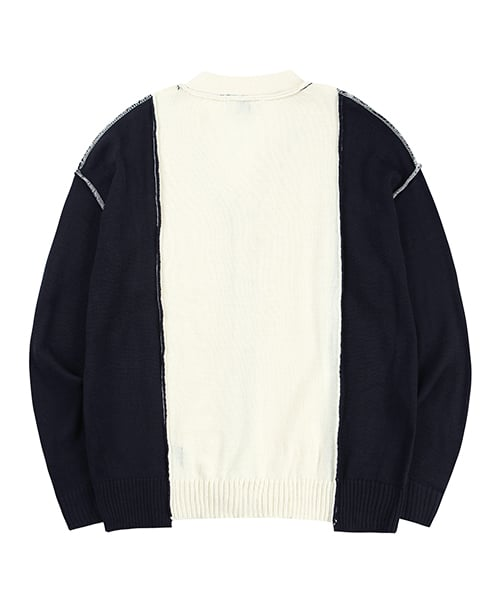 아티팩츠(ARTIFACTS) Segment Reversible Spring Cardigan_ Navy/Ecru