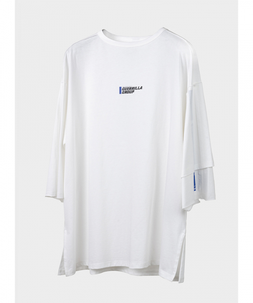 게릴라그룹(GUERRILLA GROUP) ROAD FIGHTER ASYM L/S TEE / WHITE