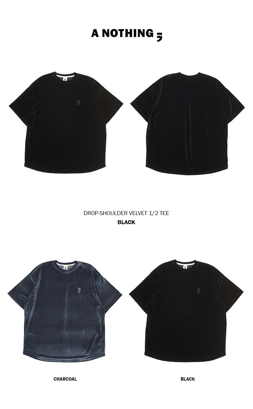 어낫띵(A NOTHING) DROP-SHOULDER VELVET 1/2 TEE (Black)