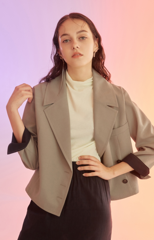 누보텐(NUVO10) khaki cropped jacket