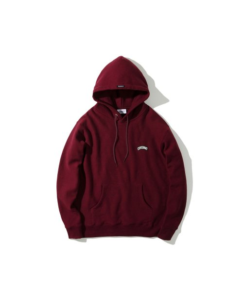 커버낫(COVERNAT) COTTON USA WAPPEN ARCH LOGO HOODIE BURGANDY