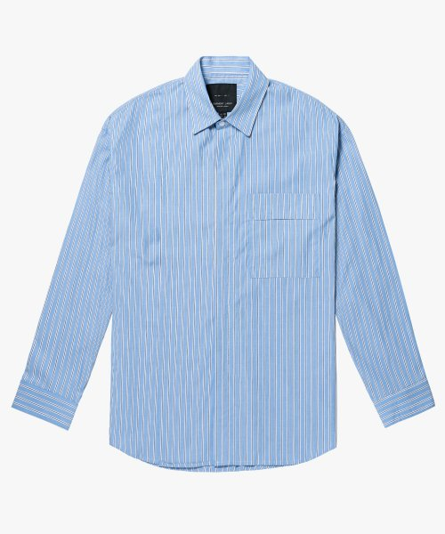 가먼트레이블(GARMENT LABLE) Addition Over Stripe Shirt - Blue