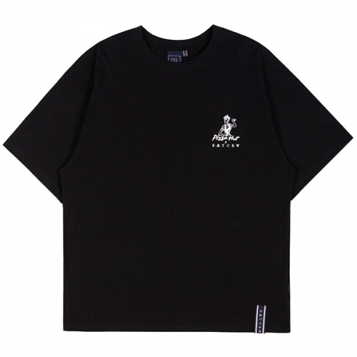 로맨틱크라운(ROMANTIC CROWN) [PIZZAHUT X RMTCRW]PIZZA POSTER TEE_BLACK