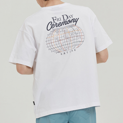 로맨틱크라운(ROMANTIC CROWN) FRIDAY WORLD MAP TEE_WHITE
