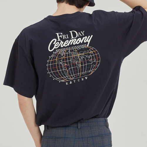 로맨틱크라운(ROMANTIC CROWN) FRIDAY WORLD MAP TEE_NAVY