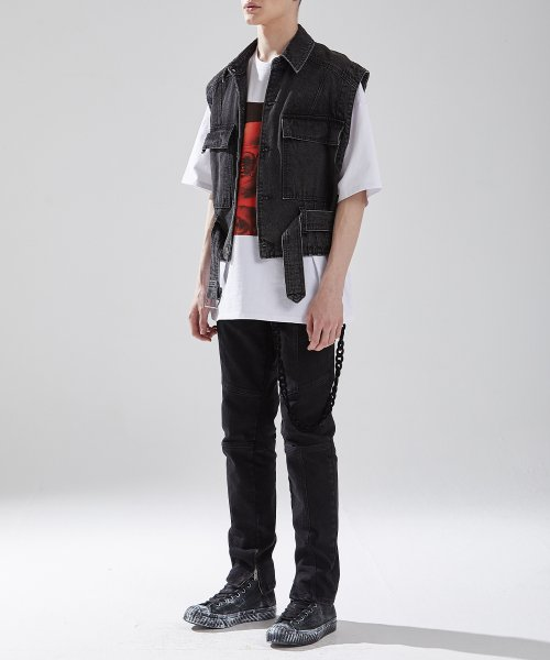 메종미네드(MAISON MINED) BLACK WASHED DENIM VEST